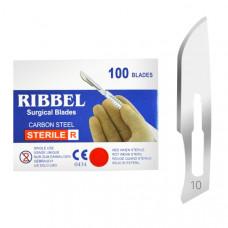 Лезвие для скальпеля Ribbel №10 углеродистая сталь 100 шт