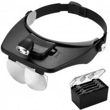 Лупа-очки налобная бинокулярная 1.2/1.8/2.5/3.5x, с подсветкой (2 LED)