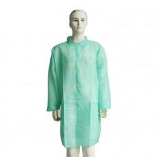 Халат посетительский 110 см плотность 30 нестерильный на кнопках спереди зеленый размер 50-52 XL 50 шт