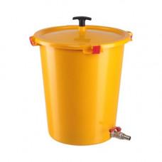 Контейнер для медицинских отходов КМ-Проект класс Б 35 л желтый с утопителем и краником