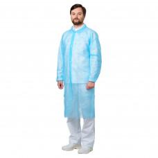 Халат посетительский 110 см плотность 30 нестерильный на кнопках спереди голубой размер 50-52 XL 50 шт