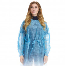 Халат хирургический 110 см плотность 20 нестерильный на липучках голубой размер 50-52 L 50 шт