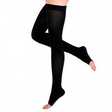 Чулки Интекс с открытым носком гладкая силиконовая резинка 1 рост 2 класс компрессии L черный