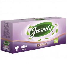 Jasmin Royal салфетки косметические для лица 20×20 см 100 шт 3 слоя