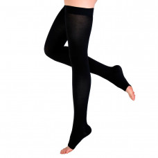 Чулки Интекс с открытым носком гладкая силиконовая резинка 2 рост 2 класс компрессии M черный