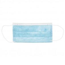 Маска трехслойная на резинке голубая 50 шт