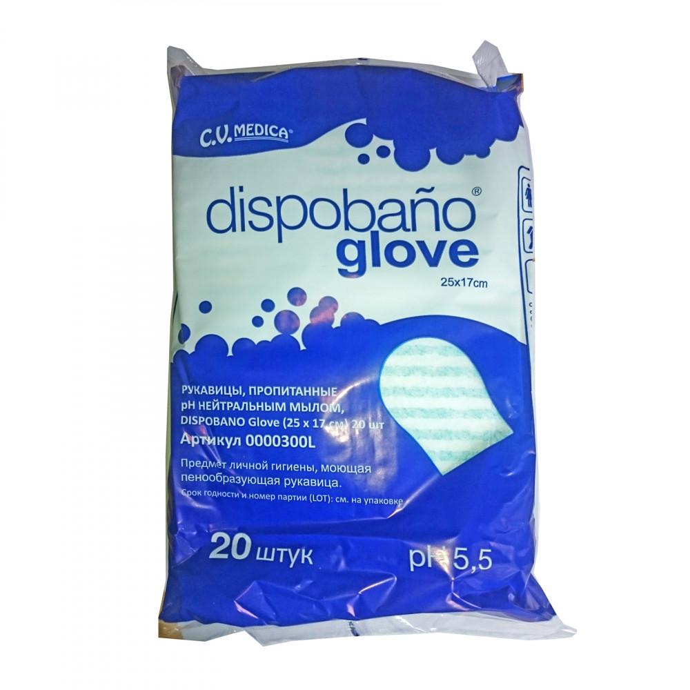 DISPOBANO Glove рукавицы пропитанные рН-нейтральным мылом 25х17 см 20 шт
