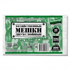 Мешки для мусора дву[слойные  до 100 кг 220 л зеленые 10 шт