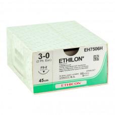 Этилон черный М0.3 (9/0) две шпательные иглы 30 см 3/8 12 шт W1717